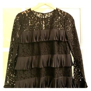 Black lace and ruffle top